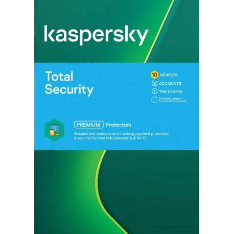 Kaspersky Total Security 10 Devices 1 Year License