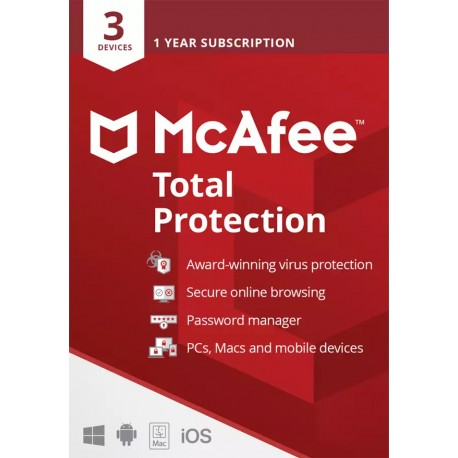 McAfee Total Protection 3 device 1 Year License