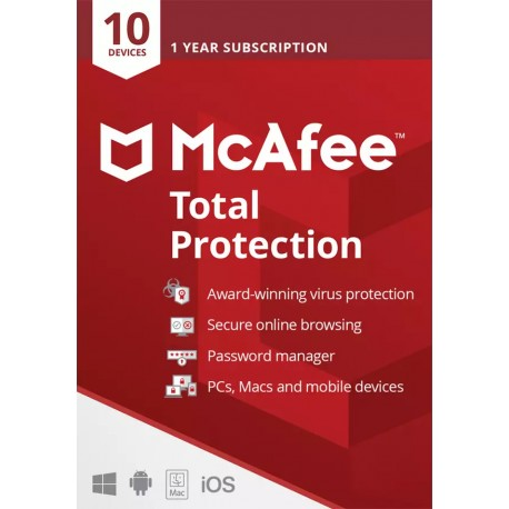 McAfee Total Protection (10 Devices) 1 Year Subscription License