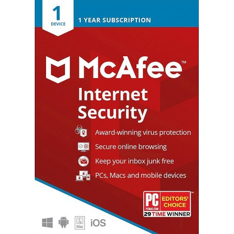 McAfee Internet Security 2021 (1 Device) 1 Year Digital License