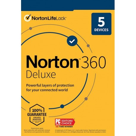 Norton 360 Deluxe 2021 5 Devices 1 Year License