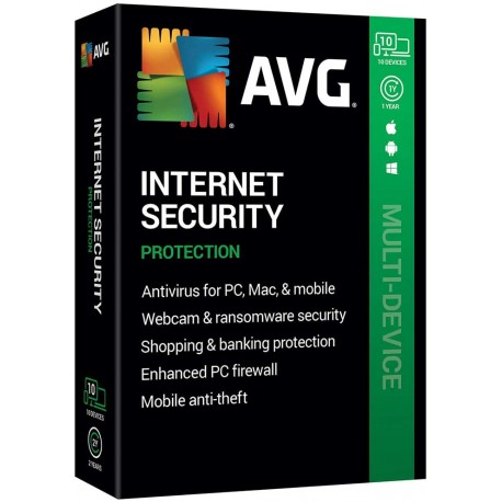 AVG Internet Security 10 Devices 1 Year License